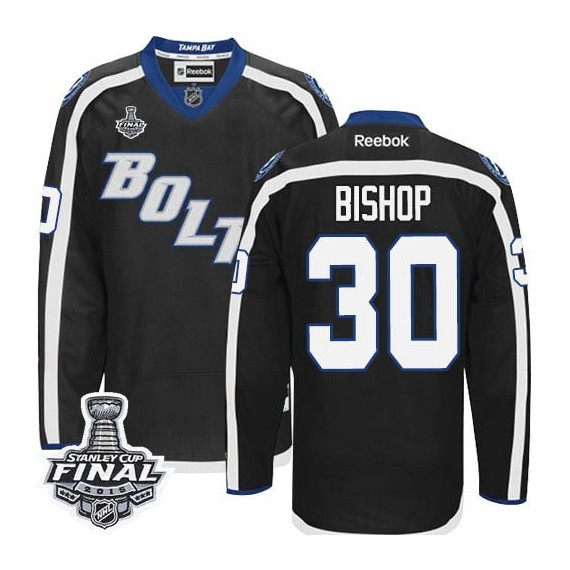 Tampa Bay Lightning Ben Bishop Official Black Reebok Authentic Adult Third 2015 Stanley Cup NHL Hockey Jersey