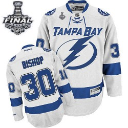 Tampa Bay Lightning Ben Bishop Official White Reebok Authentic Adult Away 2015 Stanley Cup NHL Hockey Jersey