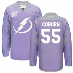 Tampa Bay Lightning Braydon Coburn Official Purple Reebok Premier Adult 2016 Hockey Fights Cancer Practice Jersey