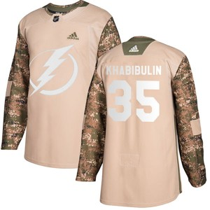 Tampa Bay Lightning Nikolai Khabibulin Official Camo Adidas Authentic Adult Veterans Day Practice NHL Hockey Jersey