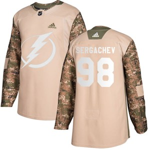 Tampa Bay Lightning Mikhail Sergachev Official Camo Adidas Authentic Adult Veterans Day Practice NHL Hockey Jersey