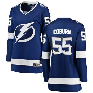 Tampa Bay Lightning Braydon Coburn Official Blue Fanatics Branded Breakaway Women's Home NHL Hockey Jersey