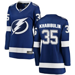 Tampa Bay Lightning Nikolai Khabibulin Official Blue Fanatics Branded Breakaway Women's Home NHL Hockey Jersey