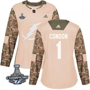 Tampa Bay Lightning Mike Condon Official Camo Adidas Authentic Women's Veterans Day Practice 2020 Stanley Cup Champions NHL Hock
