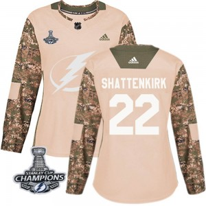 Tampa Bay Lightning Kevin Shattenkirk Official Camo Adidas Authentic Women's Veterans Day Practice 2020 Stanley Cup Champions NH