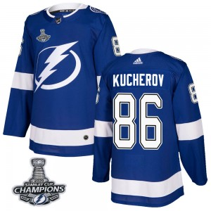 Tampa Bay Lightning Nikita Kucherov Official Blue Adidas Authentic Youth Home 2020 Stanley Cup Champions NHL Hockey Jersey