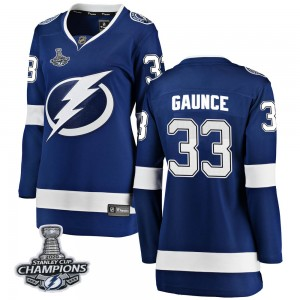 Tampa Bay Lightning Cameron Gaunce Official Blue Fanatics Branded Breakaway Women's Home 2020 Stanley Cup Champions NHL Hockey J