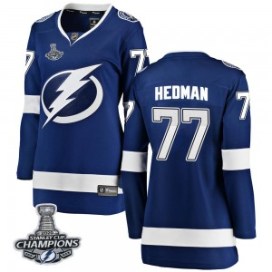Tampa Bay Lightning Victor Hedman Official Blue Fanatics Branded Breakaway Women's Home 2020 Stanley Cup Champions NHL Hockey Je