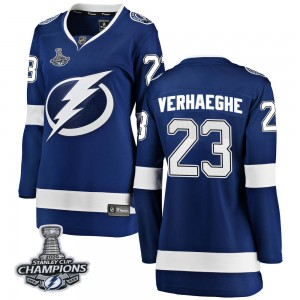 Tampa Bay Lightning Carter Verhaeghe Official Blue Fanatics Branded Breakaway Women's Home 2020 Stanley Cup Champions NHL Hockey