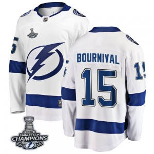 Tampa Bay Lightning Michael Bournival Official White Fanatics Branded Breakaway Youth Away 2020 Stanley Cup Champions NHL Hockey