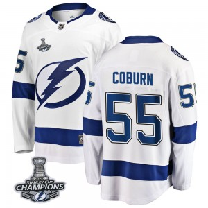 Tampa Bay Lightning Braydon Coburn Official White Fanatics Branded Breakaway Youth Away 2020 Stanley Cup Champions NHL Hockey Je
