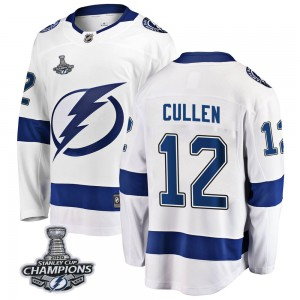 Tampa Bay Lightning John Cullen Official White Fanatics Branded Breakaway Youth Away 2020 Stanley Cup Champions NHL Hockey Jerse