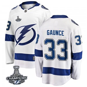 Tampa Bay Lightning Cameron Gaunce Official White Fanatics Branded Breakaway Youth Away 2020 Stanley Cup Champions NHL Hockey Je