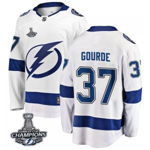 Tampa Bay Lightning Yanni Gourde Official White Fanatics Branded Breakaway Youth Away 2020 Stanley Cup Champions NHL Hockey Jers