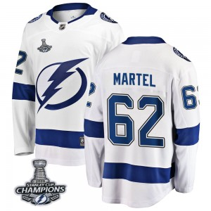 Tampa Bay Lightning Danick Martel Official White Fanatics Branded Breakaway Youth Away 2020 Stanley Cup Champions NHL Hockey Jer