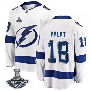 Tampa Bay Lightning Ondrej Palat Official White Fanatics Branded Breakaway Youth Away 2020 Stanley Cup Champions NHL Hockey Jers
