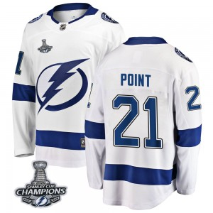 Tampa Bay Lightning Brayden Point Official White Fanatics Branded Breakaway Youth Away 2020 Stanley Cup Champions NHL Hockey Jer
