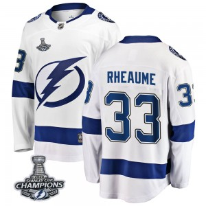 Tampa Bay Lightning Manon Rheaume Official White Fanatics Branded Breakaway Youth Away 2020 Stanley Cup Champions NHL Hockey Jer