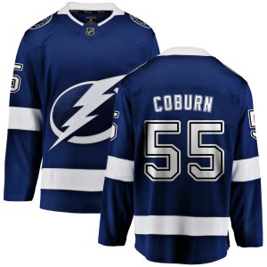 Tampa Bay Lightning Braydon Coburn Official Blue Fanatics Branded Breakaway Adult Home NHL Hockey Jersey