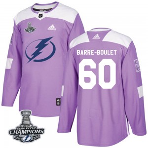 Tampa Bay Lightning Alex Barre-Boulet Official Purple Adidas Authentic Adult Fights Cancer Practice 2020 Stanley Cup Champions N