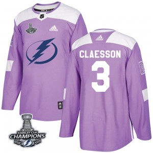 Tampa Bay Lightning Fredrik Claesson Official Purple Adidas Authentic Adult Fights Cancer Practice 2020 Stanley Cup Champions NH