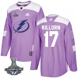 Tampa Bay Lightning Alex Killorn Official Purple Adidas Authentic Adult Fights Cancer Practice 2020 Stanley Cup Champions NHL Ho