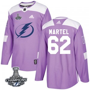 Tampa Bay Lightning Danick Martel Official Purple Adidas Authentic Adult Fights Cancer Practice 2020 Stanley Cup Champions NHL H