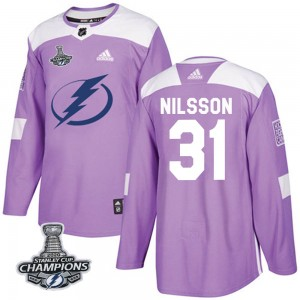 Tampa Bay Lightning Anders Nilsson Official Purple Adidas Authentic Adult Fights Cancer Practice 2020 Stanley Cup Champions NHL
