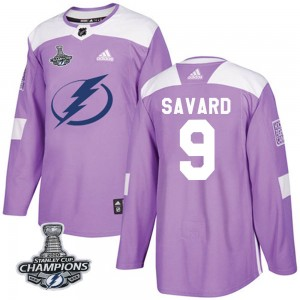 Tampa Bay Lightning Denis Savard Official Purple Adidas Authentic Adult Fights Cancer Practice 2020 Stanley Cup Champions NHL Ho