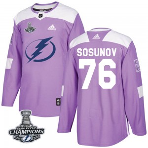 Tampa Bay Lightning Oleg Sosunov Official Purple Adidas Authentic Adult Fights Cancer Practice 2020 Stanley Cup Champions NHL Ho