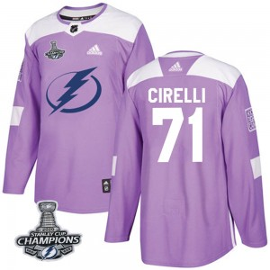 Tampa Bay Lightning Anthony Cirelli Official Purple Adidas Authentic Youth Fights Cancer Practice 2020 Stanley Cup Champions NHL