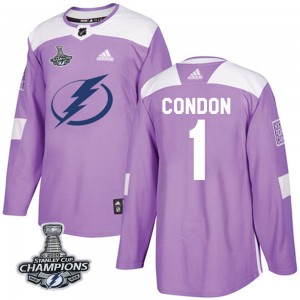 Tampa Bay Lightning Mike Condon Official Purple Adidas Authentic Youth Fights Cancer Practice 2020 Stanley Cup Champions NHL Hoc