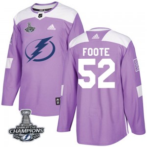 Tampa Bay Lightning Cal Foote Official Purple Adidas Authentic Youth Fights Cancer Practice 2020 Stanley Cup Champions NHL Hocke
