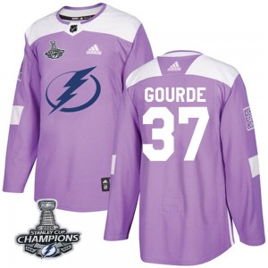 Tampa Bay Lightning Yanni Gourde Official Purple Adidas Authentic Youth Fights Cancer Practice 2020 Stanley Cup Champions NHL Ho