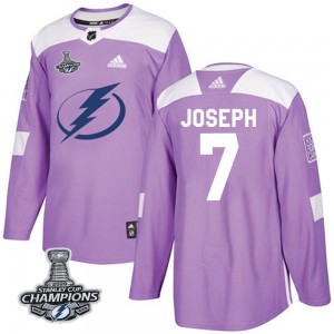 Tampa Bay Lightning Mathieu Joseph Official Purple Adidas Authentic Youth Fights Cancer Practice 2020 Stanley Cup Champions NHL