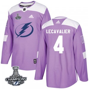 Tampa Bay Lightning Vincent Lecavalier Official Purple Adidas Authentic Youth Fights Cancer Practice 2020 Stanley Cup Champions