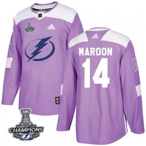 Tampa Bay Lightning Patrick Maroon Official Purple Adidas Authentic Youth Fights Cancer Practice 2020 Stanley Cup Champions NHL