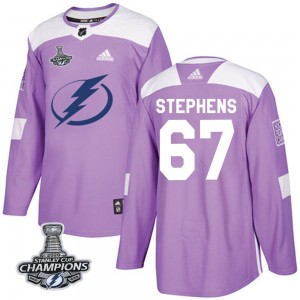 Tampa Bay Lightning Mitchell Stephens Official Purple Adidas Authentic Youth Fights Cancer Practice 2020 Stanley Cup Champions N