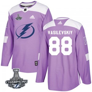 Tampa Bay Lightning Andrei Vasilevskiy Official Purple Adidas Authentic Youth Fights Cancer Practice 2020 Stanley Cup Champions