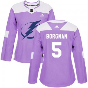 Tampa Bay Lightning Andreas Borgman Official Purple Adidas Authentic Women's Fights Cancer Practice NHL Hockey Jersey