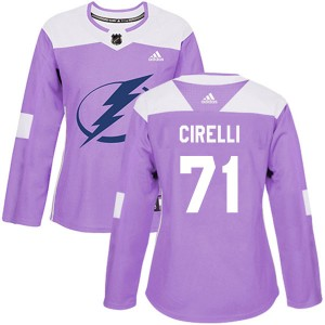 Tampa Bay Lightning Anthony Cirelli Official Purple Adidas Authentic Women's Fights Cancer Practice NHL Hockey Jersey