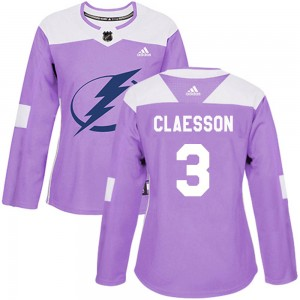 Tampa Bay Lightning Fredrik Claesson Official Purple Adidas Authentic Women's Fights Cancer Practice NHL Hockey Jersey