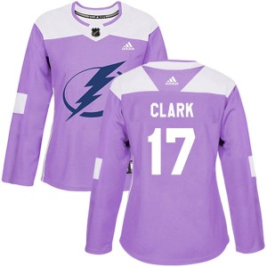 Tampa Bay Lightning Wendel Clark Official Purple Adidas Authentic Women's Fights Cancer Practice NHL Hockey Jersey