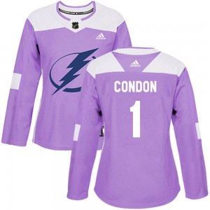 Tampa Bay Lightning Mike Condon Official Purple Adidas Authentic Women's ized Fights Cancer Practice NHL Hockey Jersey