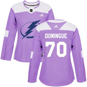Tampa Bay Lightning Louis Domingue Official Purple Adidas Authentic Women's Fights Cancer Practice NHL Hockey Jersey