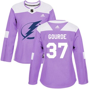 Tampa Bay Lightning Yanni Gourde Official Purple Adidas Authentic Women's Fights Cancer Practice NHL Hockey Jersey