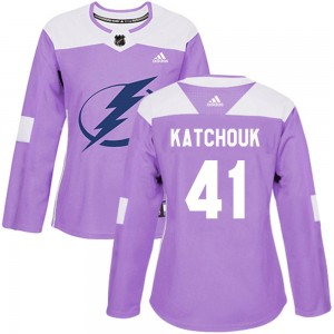 Tampa Bay Lightning Boris Katchouk Official Purple Adidas Authentic Women's Fights Cancer Practice NHL Hockey Jersey