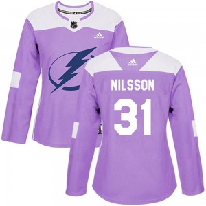Tampa Bay Lightning Anders Nilsson Official Purple Adidas Authentic Women's Fights Cancer Practice NHL Hockey Jersey