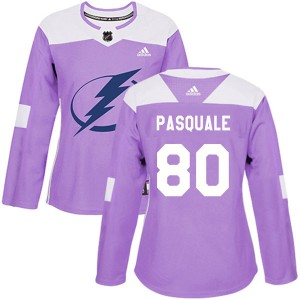 Tampa Bay Lightning Eddie Pasquale Official Purple Adidas Authentic Women's Fights Cancer Practice NHL Hockey Jersey