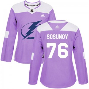 Tampa Bay Lightning Oleg Sosunov Official Purple Adidas Authentic Women's Fights Cancer Practice NHL Hockey Jersey